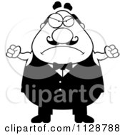 Cartoon Clipart Of A Black And White Angry Chubby Male Waiter Vector Clipart by Cory Thoman