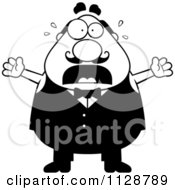 Cartoon Clipart Of A Black And White Panicking Chubby Male Waiter Vector Clipart by Cory Thoman