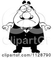 Cartoon Clipart Of A Black And White Depressed Chubby Male Waiter Vector Clipart