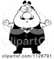 Cartoon Clipart Of A Black And White Careless Shrugging Chubby Male Waiter Vector Clipart by Cory Thoman