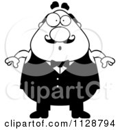 Cartoon Clipart Of A Black And White Surprised Chubby Male Waiter Vector Clipart by Cory Thoman