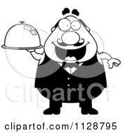 Cartoon Clipart Of A Black And White Happy Chubby Male Waiter Holding A Cloche Platter Vector Clipart by Cory Thoman