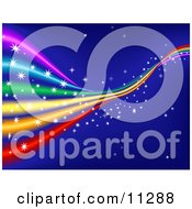 Colorful Sparkling Rainbow In A Blue Starry Sky Clipart Illustration by AtStockIllustration