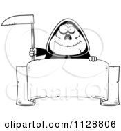 Cartoon Of A Black And White Happy Chubby Grim Reaper With A Sign 1 Vector Clipart