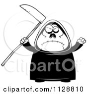 Cartoon Of A Black And White Angry Chubby Grim Reaper Vector Clipart by Cory Thoman