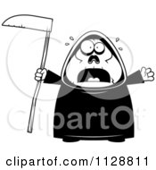 Cartoon Of A Black And White Scared Chubby Grim Reaper Vector Clipart by Cory Thoman