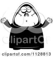 Cartoon Of A Black And White Careless Shrugging Chubby Grim Reaper Vector Clipart