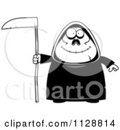 Cartoon Of A Black And White Happy Chubby Grim Reaper Vector Clipart