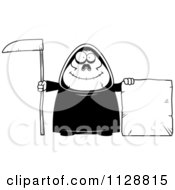 Cartoon Of A Black And White Happy Chubby Grim Reaper With A Sign 3 Vector Clipart by Cory Thoman