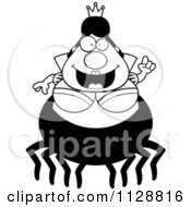 Cartoon Of A Black And White Chubby Spider Queen With An Idea Vector Clipart by Cory Thoman