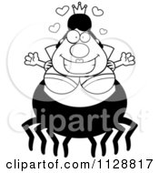 Cartoon Of A Black And White Chubby Spider Queen With Open Arms Vector Clipart by Cory Thoman