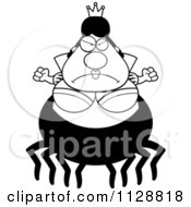 Cartoon Of A Black And White Mad Chubby Spider Queen Vector Clipart by Cory Thoman