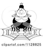 Cartoon Of A Black And White Chubby Spider Queen On A Web Vector Clipart