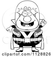 Cartoon Of A Black And White Chubby Male Villain With An Idea Vector Clipart by Cory Thoman