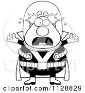 Cartoon Of A Black And White Panicking Chubby Male Villain Vector Clipart by Cory Thoman