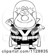 Cartoon Of A Black And White Waving Chubby Male Villain Vector Clipart by Cory Thoman