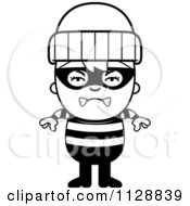Cartoon Of A Black And White Angry Robber Boy Vector Clipart