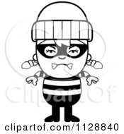 Cartoon Of A Black And White Angry Robber Girl Vector Clipart