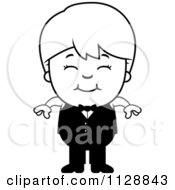 Cartoon Of A Black And White Happy Waiter Boy Vector Clipart