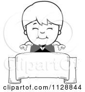 Cartoon Of A Black And White Happy Waiter Boy Over A Banner Vector Clipart