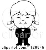 Cartoon Of A Black And White Happy Waiter Girl Vector Clipart