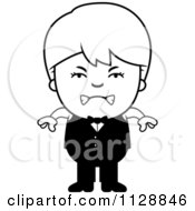 Cartoon Of A Black And White Angry Waiter Boy Vector Clipart