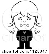 Cartoon Of A Black And White Angry Waiter Girl Vector Clipart