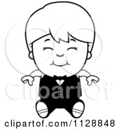 Cartoon Of A Black And White Happy Waiter Boy Sitting Vector Clipart