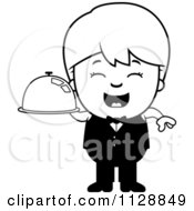 Cartoon Of A Black And White Happy Waiter Boy Carrying A Platter Vector Clipart