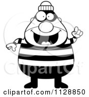 Cartoon Of A Black And White Happy Chubby Burglar Or Robber Man With An Idea Vector Clipart