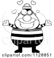 Cartoon Of A Black And White Happy Chubby Burglar Or Robber Man Wanting A Hug Vector Clipart