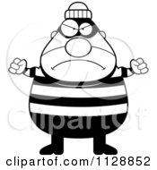 Cartoon Of A Black And White Angry Chubby Burglar Or Robber Man Vector Clipart