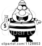 Cartoon Of A Black And White Happy Chubby Burglar Or Robber Man Holding A Money Bag Vector Clipart
