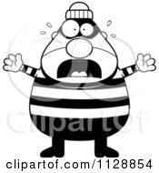 Cartoon Of A Black And White Scared Chubby Burglar Or Robber Man Vector Clipart