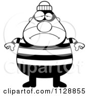 Cartoon Of A Black And White Depressed Chubby Burglar Or Robber Man Vector Clipart