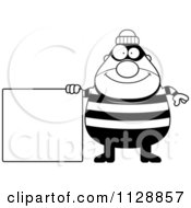 Cartoon Of A Black And White Happy Chubby Burglar Or Robber Man With A Sign Vector Clipart