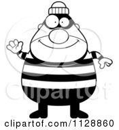 Cartoon Of A Black And White Happy Chubby Burglar Or Robber Man Waving Vector Clipart
