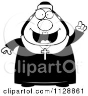 Cartoon Of A Black And White Nun In Her Habit With An Idea Vector Clipart by Cory Thoman