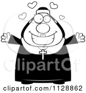 Cartoon Of A Black And White Loving Nun In Her Habit Vector Clipart by Cory Thoman