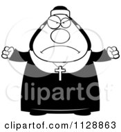 Cartoon Of A Black And White Angry Nun In Her Habit Vector Clipart by Cory Thoman