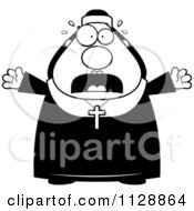 Cartoon Of A Black And White Frightened Nun In Her Habit Vector Clipart by Cory Thoman