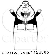 Cartoon Of A Black And White Happy Nun At The Pulpit In Her Habit Vector Clipart by Cory Thoman