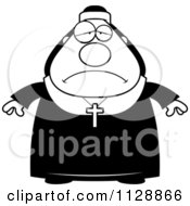 Cartoon Of A Black And White Depressed Nun In Her Habit Vector Clipart by Cory Thoman