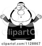 Cartoon Of A Black And White Careless Shrugging Nun In Her Habit Vector Clipart by Cory Thoman