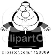 Cartoon Of A Black And White Happy Nun In Her Habit Vector Clipart by Cory Thoman