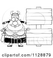 Black And White Chubby Ogre Woman With A Wood Sign