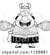 Black And White Chubby Ogre Man With Beer