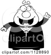 Cartoon Of A Black And White Priest With An Idea Vector Clipart