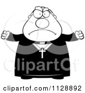Cartoon Of A Black And White Angry Priest Vector Clipart
