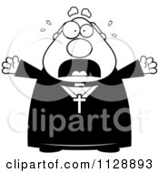 Cartoon Of A Black And White Frightened Priest Vector Clipart